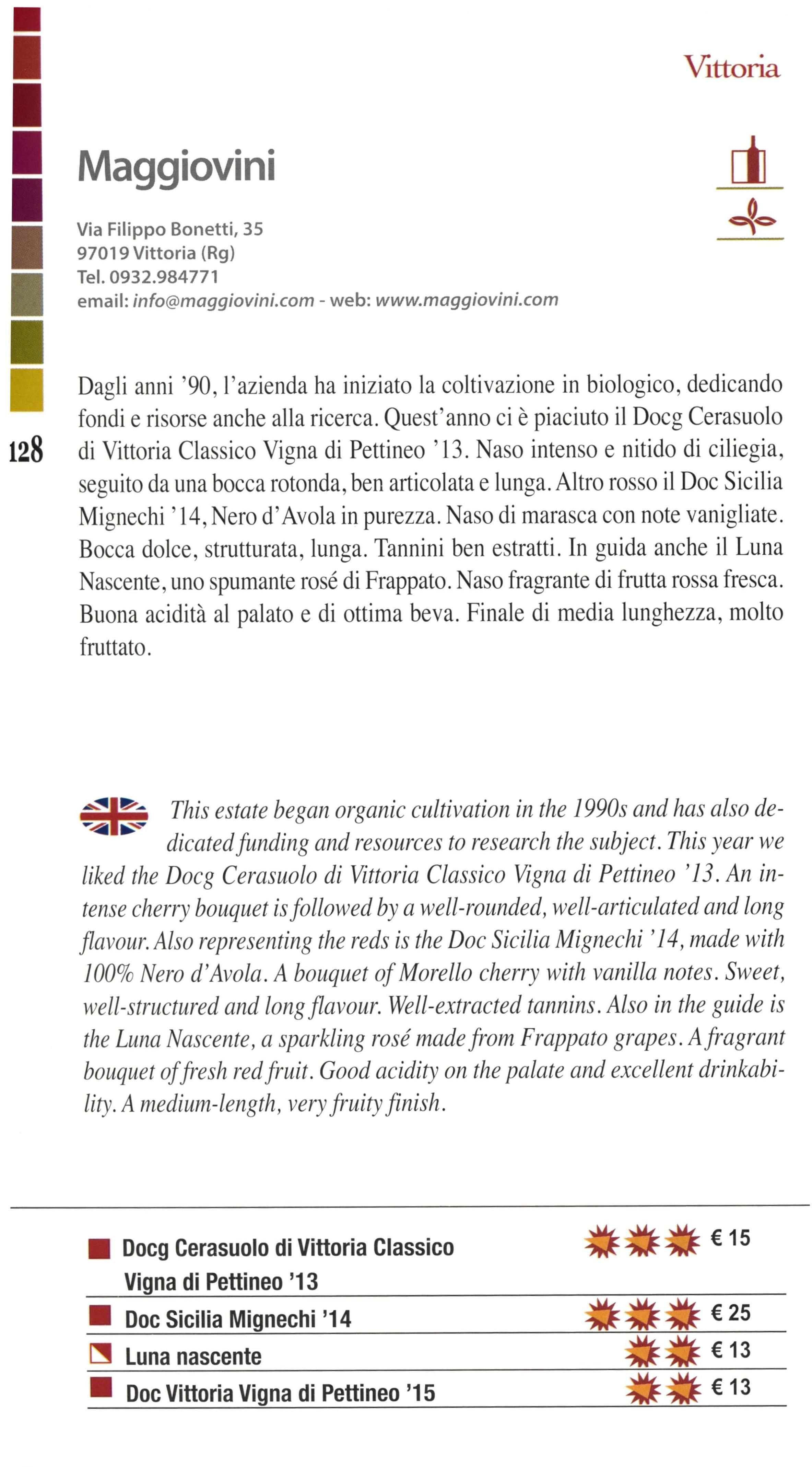 Recensione Maggiovini  - Guida Giornale di Sicilia 2017