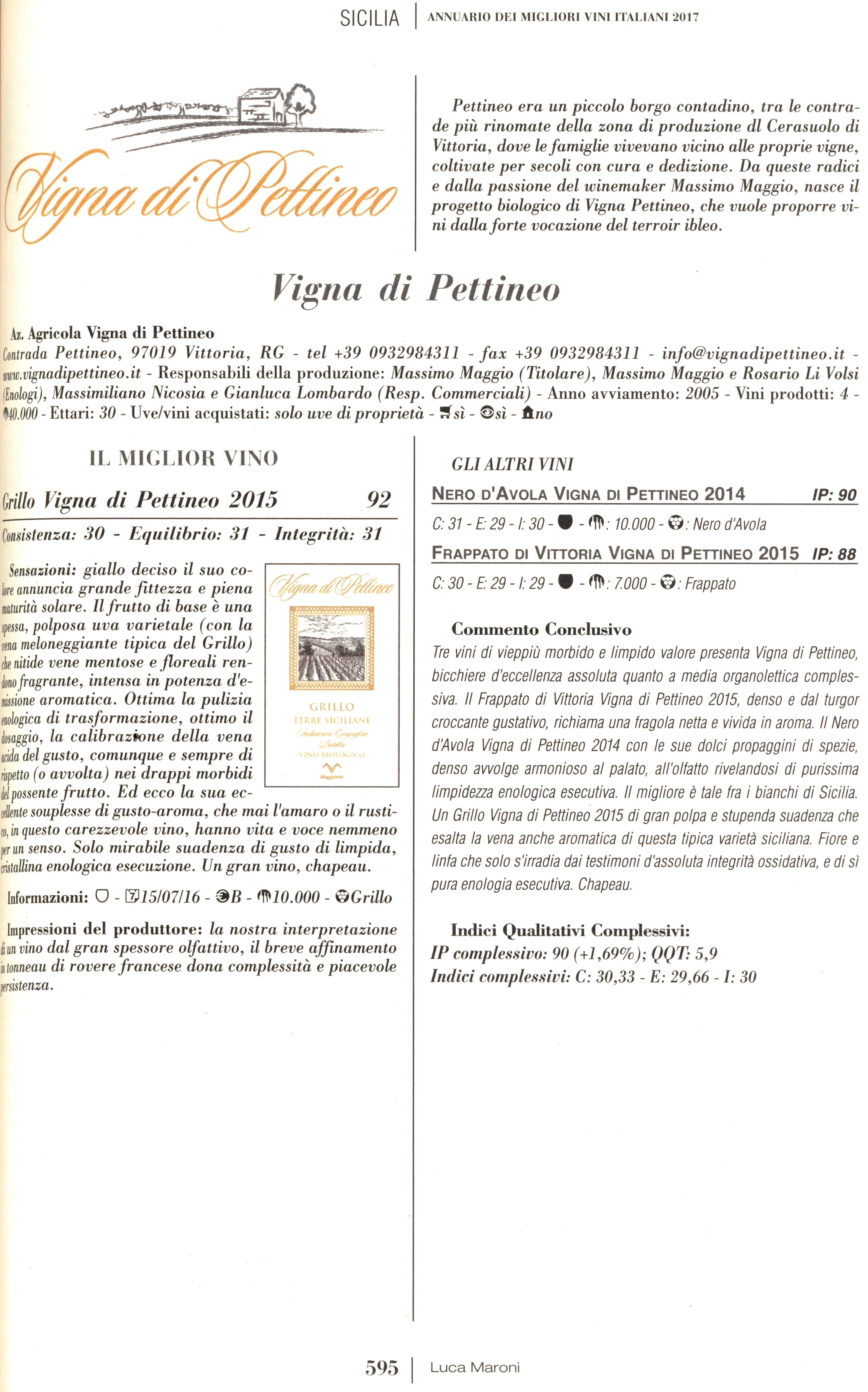 Recensione guida Luca Maroni 2017 - Vigna di Pettineo